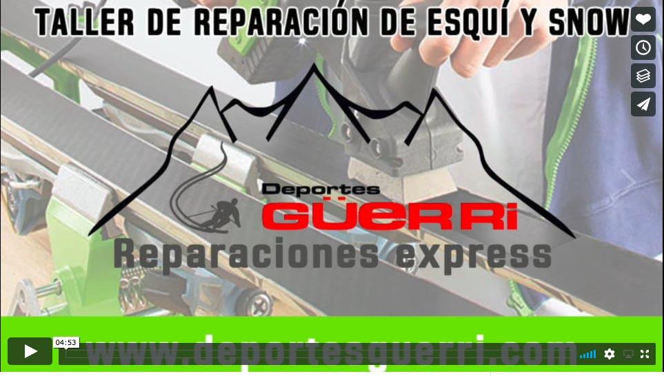 taller de reparación de esquís, vídeo Deportes Güerri